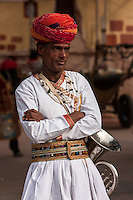 Jaipur, Rajasthan, India.  Musicians Waiting for a Wedding Procession to Assemble.
