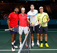 Rotterdam, The Netherlands, 15 Februari 2020, ABNAMRO World Tennis Tournament, Ahoy,<br /> Doubles: Henri Kontinen (FIN) and Jan-Lennard Struff (GER), Rohan Bopanna (IND) and Denis Shapovalov (CAN).<br /> Photo: www.tennisimages.com