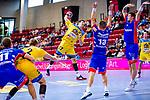 Samuel Wendel (HSG Konstanz #27) ; Fabian Wiederstein (HBW Balingen #13) ; Romas Kirveliavicius (HBW Balingen #5) beim Spiel HSG Konstanz – HBW Balingen-Weilstetten beim BGV Handball Cup 2020.<br /> <br /> Foto © PIX-Sportfotos *** Foto ist honorarpflichtig! *** Auf Anfrage in hoeherer Qualitaet/Aufloesung. Belegexemplar erbeten. Veroeffentlichung ausschliesslich fuer journalistisch-publizistische Zwecke. For editorial use only.
