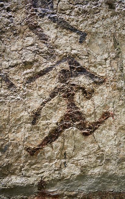 Detail of wall fresco depicting figure moving. 6000 BC. Catalhoyuk Collections. Museum of Anatolian Civilisations, Ankara