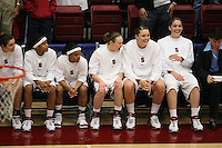 19 March 2007: Morgan Clyburn, Melanie Murphy, Markisha Coleman, Clare Bodensteiner, Jayne Appel, and Michelle Harrison during Stanford's 68-61 loss against the Florida State Seminoles in the 2007 NCAA Division I Women's Basketball Championship second round game at Maples Pavilion in Stanford, CA.