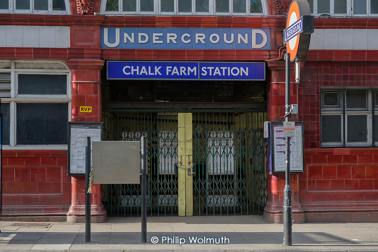 Chalk Farm underground station, one of many tube stops closed due to Covid-19 pandemic.