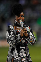 Misha B from the X Factor entertains fans before the Aviva Premiership match between Harlequins and Saracens at Twickenham on Tuesday 27 December 2011 (Photo by Rob Munro)