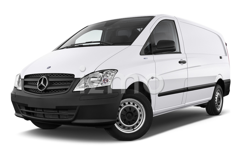 Stock pictures of low aggressive front three quarter view of a 2013 Mercedes Benz Vito 113CDi SWB Long 4 Door Cargo Van 2WD Low Aggressive