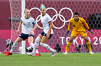 KASHIMA, JAPAN - AUGUST 2: Adrianna Franch #18 of the USWNT looks to the ball during a game between Canada and USWNT at Kashima Soccer Stadium on August 2, 2021 in Kashima, Japan.