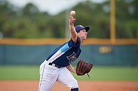 GCL Rays pitcher Justin Montgomery (19) during a Gulf Coast League game against the GCL Pirates on August 7, 2019 at Charlotte Sports Park in Port Charlotte, Florida.  GCL Rays defeated the GCL Pirates 5-3 in the second game of a doubleheader.  (Mike Janes/Four Seam Images)
