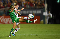 PASADENA, CALIFORNIA - August 03: Lauren Dwyer #14, Emily Sonnett #14 during their international friendly and the USWNT Victory Tour match between Ireland and the United States at the Rose Bowl on August 03, 2019 in Pasadena, CA.