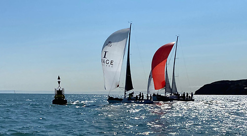 The Big Picture leads coming to the gybe at the Rowan Buoy, with King One and Mata tucked in to starboard