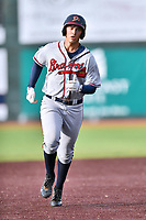 Danville Braves third baseman Drew Lugbauer (38) runs to third base during a game against the  Johnson City Cardinals at TVA Credit Union Ballpark on July 23, 2017 in Johnson City, Tennessee. The Cardinals defeated the Braves 8-5. (Tony Farlow/Four Seam Images)