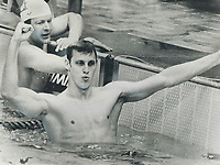 1976 FILE PHOTO - ARCHIVES -<br /> <br /> Cracks 50 seconds: Jim Montgomery signals his triumph after becoming the first person to swim 100 metres in less than 50 seconds. He won the gold medal Saturday in 49.99; beating his own previous world record of 50.39; set in the semi-finals. <br /> <br /> Bezant, Graham<br /> Picture, 1976<br /> <br /> 1976<br /> <br /> PHOTO : Graham Bezant - Toronto Star Archives - AQP
