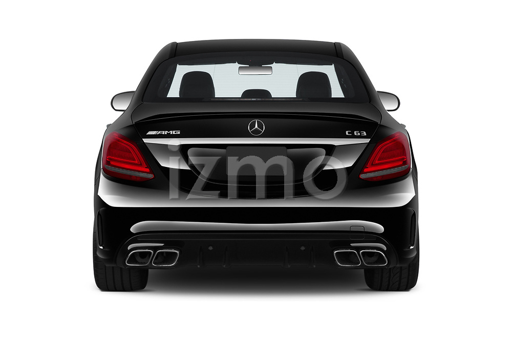 Straight rear view of 2019 Mercedes Benz C-CLass 63-AMG 4 Door Sedan Rear View  stock images