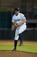 Pulaski Yankees relief pitcher Mitch Spence (38) in action against the Burlington Royals at Calfee Park on September 1, 2019 in Pulaski, Virginia. The Royals defeated the Yankees 5-4 in 17 innings. (Brian Westerholt/Four Seam Images)
