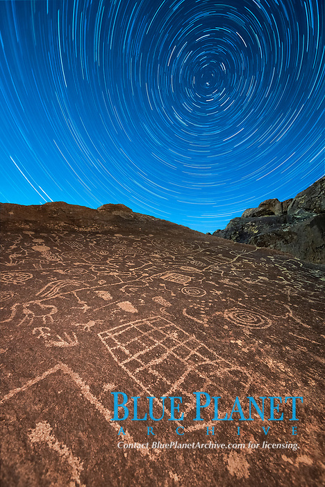 Star Trails over Sky Rock. Sky Rock petroglyphs near Bishop, California. Hidden atop an enormous boulder in the Volcanic Tablelands lies Sky Rock, a set of petroglyphs that face the sky. These superb examples of native American petroglyph artwork are thought to be Paiute in origin, but little is known about them.