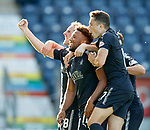 Myles Hippolyte scores the second goal for Falkirk and celebrates with Mark Kerr and Alex Harris