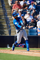 Toronto Blue Jays center fielder Kevin Pillar (11) swings at a pitch during a Grapefruit League Spring Training game against the New York Yankees on February 25, 2019 at George M. Steinbrenner Field in Tampa, Florida.  Yankees defeated the Blue Jays 3-0.  (Mike Janes/Four Seam Images)