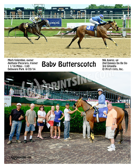 Baby Butterscotch winning at Delaware Park racetrack on 6/23/14