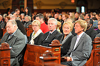 Montreal  (QC) CANADA - Oct 3 2009 - Family and PQ members gather to pay tribute filmmaker and separatist figure Pierre Falardeau, Oct 3rd 2009 at Saint-Jean-Baptiste church in Montreal. In the photo : Jacques Parizeau, Gilles Duceppe, Pauline Mrois and husband