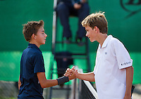 August 9, 2014, Netherlands, Rotterdam, TV Victoria, Tennis, National Junior Championships, NJK,  Final boys 14 years Alec Deckers (R) (NED) is congratulated by   Amadatus Admiraal (NED)<br /> Photo: Tennisimages/Henk Koster