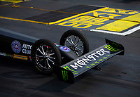 May 4, 2018; Commerce, GA, USA; Detailed view of the front wing and wheels on the dragster of NHRA top fuel driver Brittany Force during qualifying for the Southern Nationals at Atlanta Dragway. Mandatory Credit: Mark J. Rebilas-USA TODAY Sports