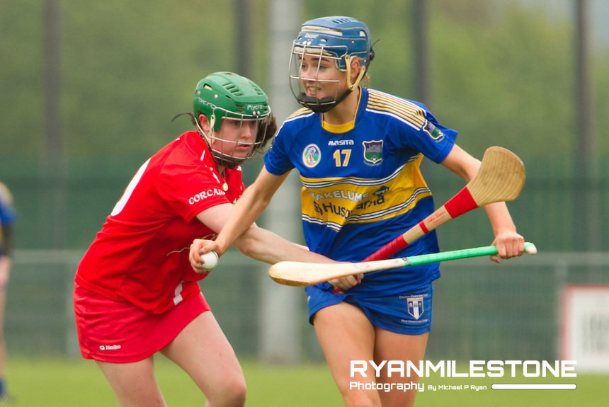 Munster Senior Camogie Championship Semi Final, Cork v Tipperary, Sunday May 8th 2016, Cork Camogie Grounds, Castle Road, Cork.<br /> Tipperary's Megan Ryan with Cork's Hannah Looney.