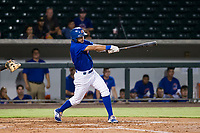AZL Cubs center fielder Jose Gutierrez (91) follows through on his swing against the AZL Giants on September 6, 2017 at Sloan Park in Mesa, Arizona. AZL Giants defeated the AZL Cubs 6-5 to even up the Arizona League Championship Series at one game a piece. (Zachary Lucy/Four Seam Images)