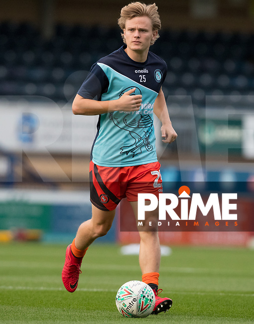 Alex Samuel of Wycombe Wanderers warms up during the Carabao Cup 2nd round match between Wycombe Wanderers and Forest Green Rovers at Adams Park, High Wycombe, England on 28 August 2018. Photo by Andy Rowland.