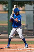 Chicago Cubs outfielder Yovanny Cuevas (21) at bat during an Extended Spring Training game against the Los Angeles Angels at Sloan Park on April 14, 2018 in Mesa, Arizona. (Zachary Lucy/Four Seam Images)