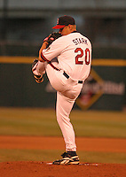 April 8, 2005:  Pitcher Dennis Stark of the Buffalo Bisons during a game at Dunn Tire Park in Buffalo, NY.  Buffalo is the International League Triple-A affiliate of the Cleveland Indians.  Photo by:  Mike Janes/Four Seam Images