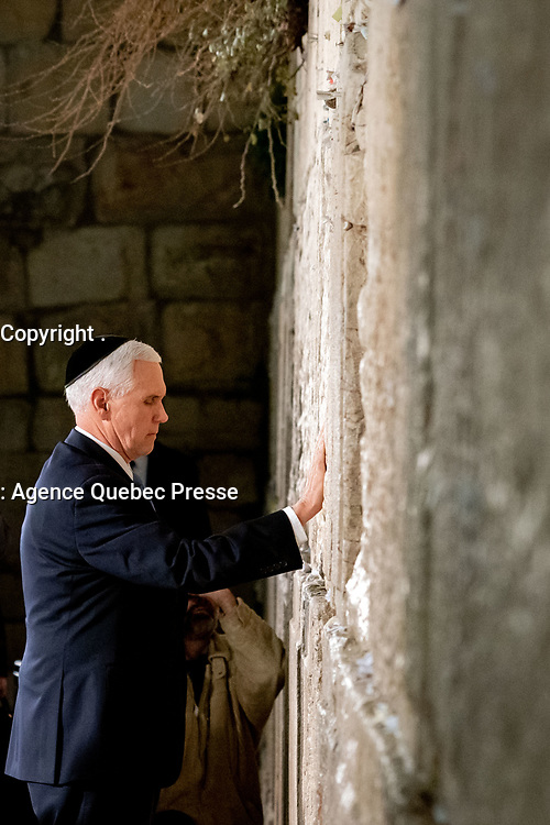 Vice President Pence and Mrs. Pence at the Western Wall<br /> <br /> Vice President Mike Pence prays Thursday, Jan. 23, 2020, at the Western Wall in Jerusalem. (Official White House Photo by D. Myles Cullen)