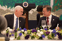 Vice President Mike Pence and Mrs. Karen Pence attend a dinner with South Korean President Moon Jae-in and his wife Kim Jung-sook at the Blue House, Thursday, February 8, 2018, in Seoul South Korea. (Official White House Photo by D. Myles Cullen)