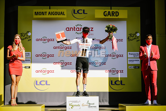 Nicolas Roche (IRL) Team Sunweb wins the day's combativity award at the end of Stage 6 of Tour de France 2020, running 191km from Le Teil to Mont Aigoual, France. 3rd September 2020.<br /> Picture: ASO/Pauline Ballet | Cyclefile<br /> All photos usage must carry mandatory copyright credit (© Cyclefile | ASO/Pauline Ballet)