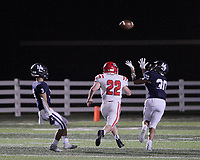 Har-Ber Wildcats Senior Efrin Chavez (30) intercepts a pass intended for Fort Smith Northside Grizzlies Junior Seth Fields (22) during the first round play-off game Friday, November 13, 2020, at Wildcat Stadium, Springdale, Arkansas (Special to NWA Democrat-Gazette/Brent Soule)