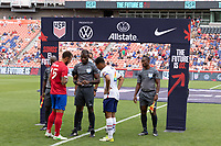 SANDY, UT - JUNE 10: Tyler Adams #4 of the United States wins the coin toss during a game between Costa Rica and USMNT at Rio Tinto Stadium on June 10, 2021 in Sandy, Utah.