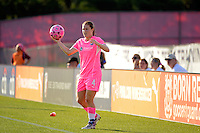 Kendall Fletcher (4) of Sky Blue FC on a throw in. The Western New York Flash defeated Sky Blue FC 2-0 during a Women's Professional Soccer (WPS) match at Yurcak Field in Piscataway, NJ, on July 17, 2011.