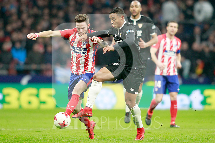 Atletico de Madrid's Saul Niguez (l) and Sevilla FC's Luis Muriel during Spanish Kings Cup, Quarter finals, first leg match. January 17,2018. (ALTERPHOTOS/Acero)
