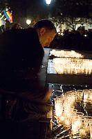 Annual vigil against homophobic hate crime in Trafalger Square London.