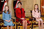 Princess Leonor of Spain (l), Princess Sofia of Spain (r) and Queen Letizia attend the Order of Golden Fleece (Toison de Oro), ceremony at the Royal Palace . January 30,2018. (ALTERPHOTOS/Pool)