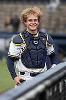Michigan Wolverines catcher Joe Donovan (0) before the NCAA baseball game against the Michigan State Spartans on May 7, 2019 at Ray Fisher Stadium in Ann Arbor, Michigan. Michigan defeated Michigan State 7-0. (Andrew Woolley/Four Seam Images)
