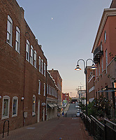 Twilight sets over the historical buildings in downtown Charlottesville, VA. Photo/ Andrew Shurtleff