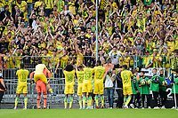 19th September  2021; Angers, Pays de la Loire, France; French League 1 football Angers versus Nantes;    Nantes players Quentin MERLIN and Alban LAFONT  celebrate their victory at final whistle