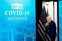 U.S. President Joe Biden puts on a protective mask while departing the South Court Auditorium of the White House in Washington, D.C., U.S., on Monday, March 29, 2021. <br /> CAP/MPI/RS<br /> ©RS/MPI/Capital Pictures
