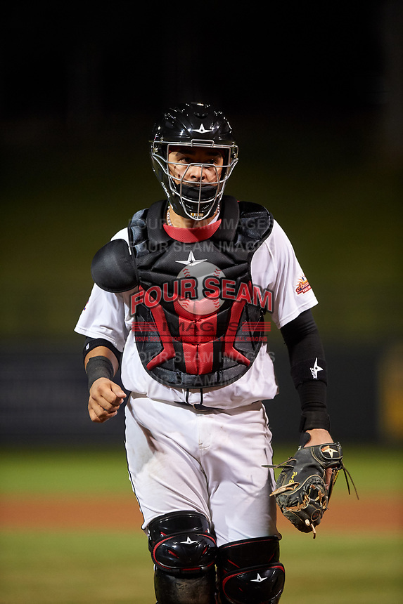 Scottsdale Scorpions catcher Ali Sanchez (20), of the New York Mets organization, during an Arizona Fall League game against the Glendale Desert Dogs on September 20, 2019 at Salt River Fields at Talking Stick in Scottsdale, Arizona. Scottsdale defeated Glendale 3-2. (Zachary Lucy/Four Seam Images)