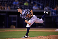 Tampa Yankees relief pitcher Andrew Schwaab (21) delivers a pitch during a game against the Bradenton Marauders on April 15, 2017 at George M. Steinbrenner Field in Tampa, Florida.  Tampa defeated Bradenton 3-2.  (Mike Janes/Four Seam Images)