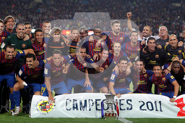 FC Barcelona's team celebrates the victory during Spanish Supercup 2nd match.August 17,2011. (ALTERPHOTOS/Acero)
