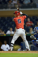 Rob Refsnyder (5) of the Louisville Bats at bat against the Durham Bulls at Durham Bulls Athletic Park on May 28, 2019 in Durham, North Carolina. The Bulls defeated the Bats 18-3. (Brian Westerholt/Four Seam Images)