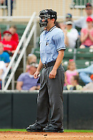 Home plate umpire Blake Felix during the South Atlantic League game between the West Virginia Power and the Kannapolis Intimidators at Fieldcrest Cannon Stadium on April 20, 2011 in Kannapolis, North Carolina.   Photo by Brian Westerholt / Four Seam Images
