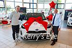 Kerry Olympian and Kelliher's Toyota Ambassador Jordan Lee launching the new Yaris Cross Hybrid with Tim Kelliher at Kellihers Toyota on Monday.