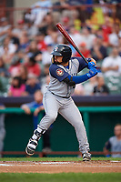 Brooklyn Cyclones second baseman Carlos Cortes (44) at bat during a game against the Tri-City ValleyCats on August 21, 2018 at Joseph L. Bruno Stadium in Troy, New York.  Tri-City defeated Brooklyn 5-2.  (Mike Janes/Four Seam Images)
