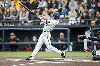 Michigan Wolverines designated hitter Dominic Clementi (13) smashes a first inning home run against the Maryland Terrapins on April 13, 2018 in a Big Ten NCAA baseball game at Ray Fisher Stadium in Ann Arbor, Michigan. Michigan defeated Maryland 10-4. (Andrew Woolley/Four Seam Images)