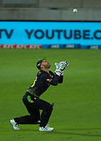 Australian wicketkeeper Matthew Wade catches Tim Southee during the 4th international men's T20 cricket match between the New Zealand Black Caps and Australia at Sky Stadium in Wellington, New Zealand on Friday, 5 March 2021. Photo: Dave Lintott / lintottphoto.co.nz